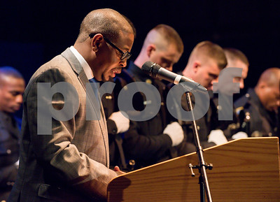 072717  Wesley Bunnell | Staff  The 13th Training Session of the Regional Satellite Basic Recruit Academy graduated on Thursday afternoon at Trinity-on-Main in New Britain. Pastor Thomas A. Mills Jr. gives the benediction.