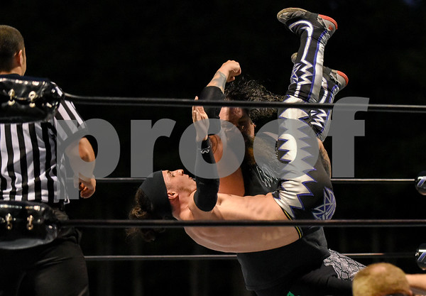 072817 Wesley Bunnell | Staff Professional wrestling visited Bristol as Wrestling under the Stars took place at Muzzy Field on Friday evening. Ron Zombie with an elbow.