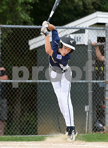 072817  Wesley Bunnell | Staff  Newington vs Ellington in a Little League state finals game played at Adams Middle School in Guilford. Alex Cappelluci (2) jumps out of the way of a pitch for ball four.