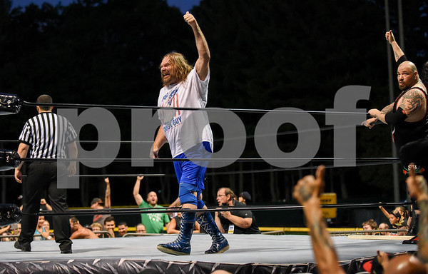 072817 Wesley Bunnell | Staff Professional wrestling visited Bristol as Wrestling under the Stars took place at Muzzy Field on Friday evening. WWE Hall of Fame member Hacksaw Jim Duggan fires up the crowd.