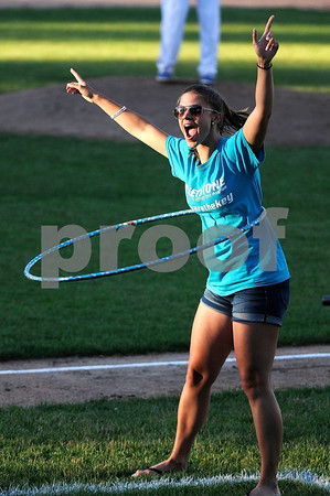 6/20/2017 Mike Orazzi   Staff Siena Stickney after winning the Hula Hoop competition during Tuesday night's Bristol Blues baseball game at Muzzy Field.