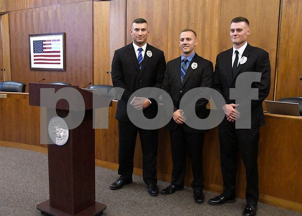 7/12/2017 Mike Orazzi   Staff Bristol's newest police recruits, Zach Rodriguez, Chris Bordner,and Travis Martin.