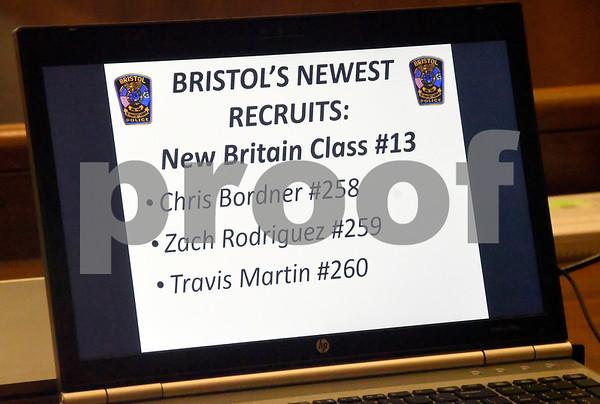 7/12/2017 Mike Orazzi   Staff Bristol's newest police recruits, Chris Bordner, Zach Rodriguez and Travis Martin.