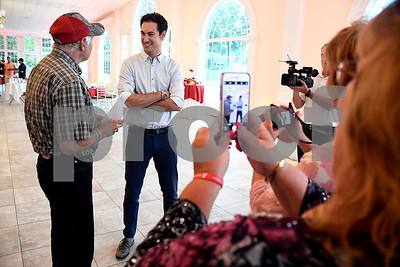 7/13/2017 Mike Orazzi | Staff Joey Logano fan James Guilmette talks with Logano at the Aqua Turf Club for Driving Hope Home, the annual Joey Logano Foundation charity event in Connecticut Thursday afternoon.