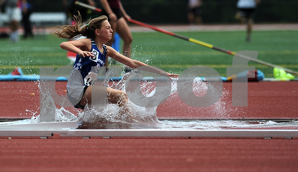 7/15/2017 Mike Orazzi | Staff Dagny Edwards during the 2000 meter steeplechase during the Nutmeg Games held in Willow Brook Park in New Britain Saturday.