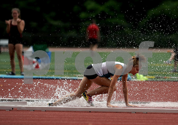 7/15/2017 Mike Orazzi | Staff Rachel Joyce during the 2000 meter steeplechase during the Nutmeg Games held in Willow Brook Park in New Britain Saturday.