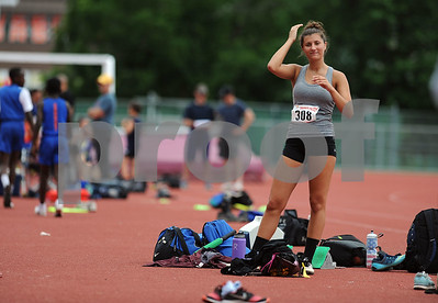 7/15/2017 Mike Orazzi | Staff Paige Mantzaris during the triple jump at the Nutmeg Games held in Willow Brook Park in New Britain Saturday.
