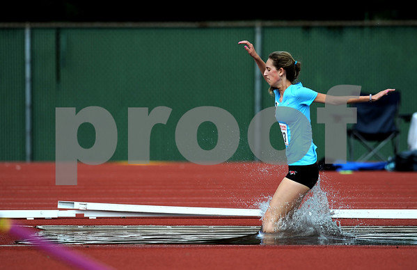 7/15/2017 Mike Orazzi | Staff Maeve Williams during the 2000 meter steeplechase during the Nutmeg Games held in Willow Brook Park in New Britain Saturday.