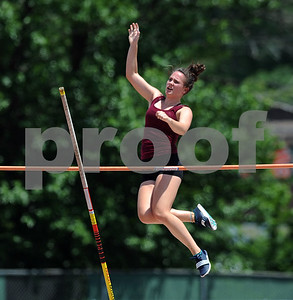 7/15/2017 Mike Orazzi | Staff Stephanie Phoenix during the pole vault at the Nutmeg Games held in Willow Brook Park in New Britain Saturday.