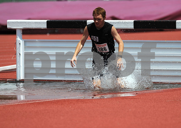 7/15/2017 Mike Orazzi | Staff Jacob Oneal in the 2000 meter steeplechase during the Nutmeg Games held in Willow Brook Park in New Britain Saturday.