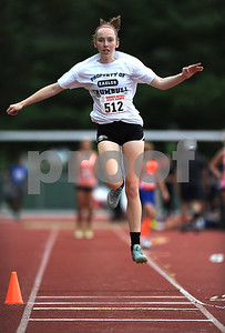 7/15/2017 Mike Orazzi | Staff Julianne Spillane during the triple jump at the Nutmeg Games held in Willow Brook Park in New Britain Saturday.