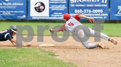 070617  Wesley Bunnell   Staff  Southington vs Bristol in American Legion Baseball on Thursday evening at Southington High School. Noah Plantamuro (5) leaps towards second base attempting a force on Jake Babon (3).