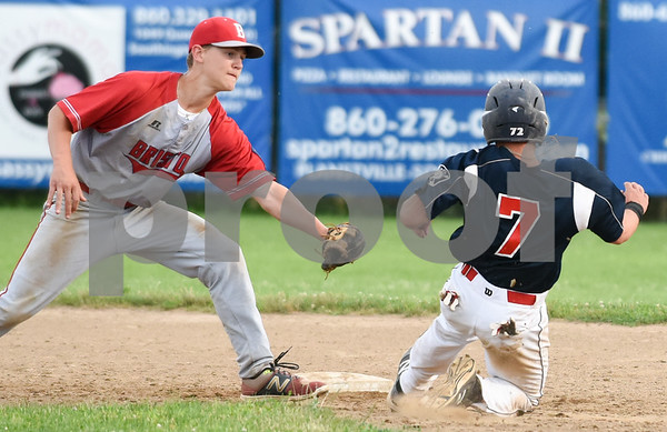 070617 Wesley Bunnell | Staff Southington vs Bristol in American Legion Baseball on Thursday evening at Southington High School. Noah Plantamuro (5) applies the tag to Josh Panarella (7) on a stolen base attempt.
