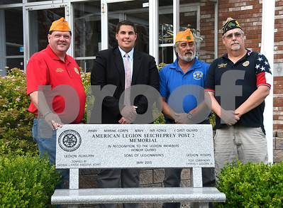 7/6/2017 Mike Orazzi | Staff Jeff Frain, Sons of The American Legion National Commander, Pat Kilby, Post 2 Sons of the American Legion, Post 209 John Wright and American Legion, and Post 2 Commander Rick Schreiner in Bristol Thursday evening.