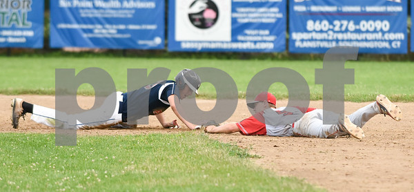070617 Wesley Bunnell | Staff Southington vs Bristol in American Legion Baseball on Thursday evening at Southington High School. Noah Plantamuro (5) attempts to force Jake Babon (3) on a play at second base.