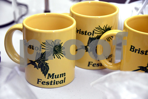 7/8/2017 Mike Orazzi | Staff Bristol Mum Festival mugs for sale during the Bristol Historical Society Tag Sale Saturday morning.