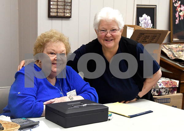 7/8/2017 Mike Orazzi | Staff Pat Thompson and Mary Stokosa during the Bristol Historical Society Tag Sale Saturday morning.
