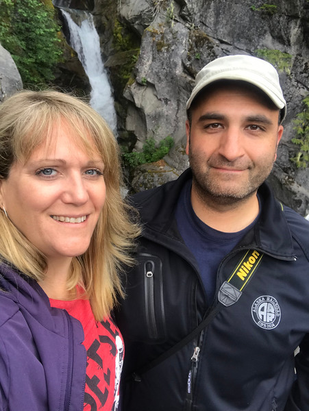 Mer and I at MRNP, falls in the background.<br /> <br /> (Photo by Mer)