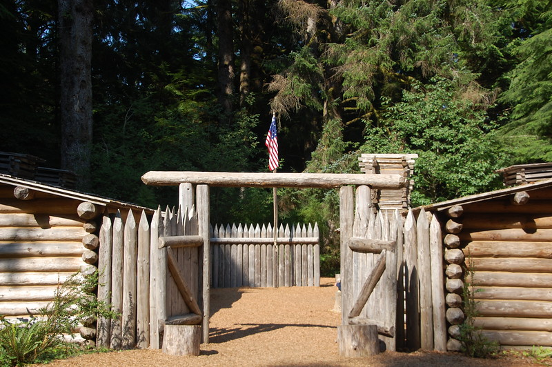 """We visited Fort Clatsop in the Lewis and Clark National Park; a recreation of the fort constructed by the Corps of Discovery Expedition during the winter of 1805.  It sits on the same spot as the original, near the mouth of the Columbia River.  <br /> <br /> I'm a nerd for """"recent"""" history and the LaCNP was a real surprise.  I didn't even know it existed until we passed a road sign for it.  I've traveled a lot of miles in the footprints of Lewis and Clark, including the Lolo Pass Road where Meredith and I camped in a site quite probably used by the expedition.  The expedition also ties in interestingly to one of my other recent nerderys, the Oregon Trail.  So, suffice it to say, I enjoyed this park quite a bit."""