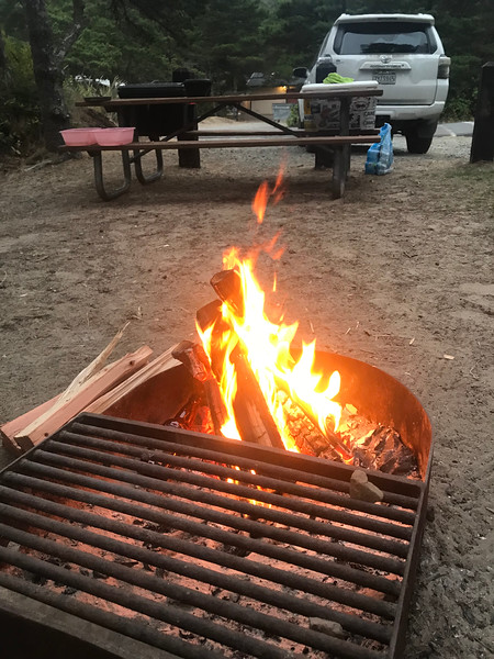 We camped the night of day 5 at a county park near Tillamook, Oregon; on the ocean.  I built our second proper campfire of the trip and we had kabobs again.