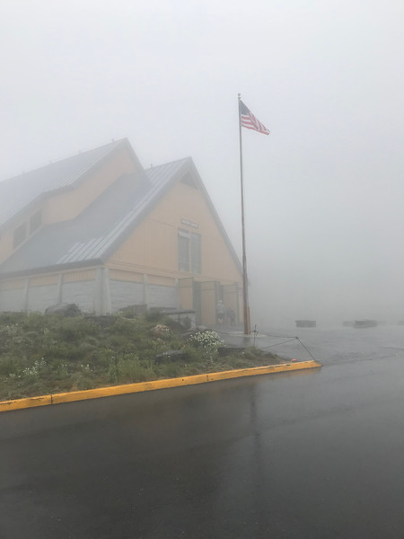Visitor center at Paradise / MRNP, shrouded in fog.<br /> <br /> (Photo by Meredith)
