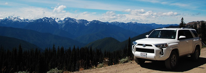 Day 4, we went through the Olympic Peninsula and the Olympic NP.  This is a view of Mt Olympus and associated peaks from the dirt road going to Separation Point.