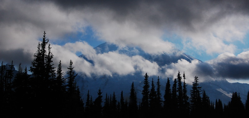 Best shot I could get of Mt Rainier from the south - the fog lifted slightly but then black clouds moved in.