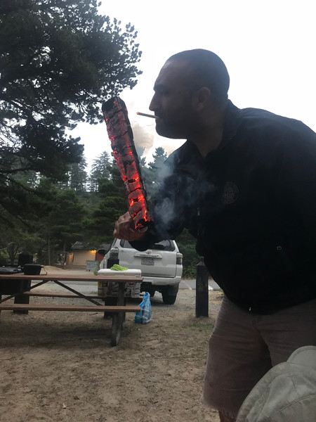 I don't even smoke but I couldn't resist the sheer badassery of lighting a cigarette off a burning log.