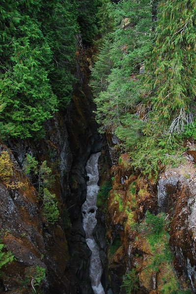 Not a waterfall, but a crevice in the rock that is about 5 feet wide and 180 feet down.  There is a rushing torrent of water down there draining off Mt Rainier.