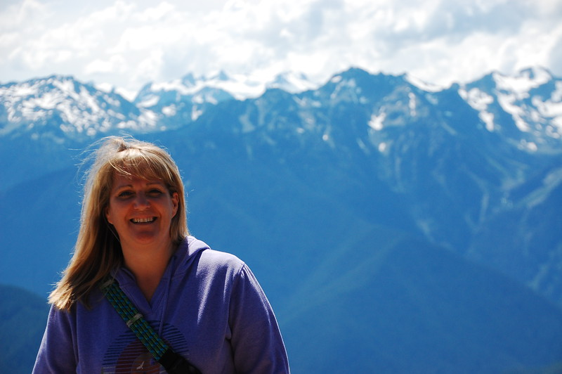 Meredith in front of Mt Olympus.  I like this shot of her.  Casually windblown and genuinely happy.