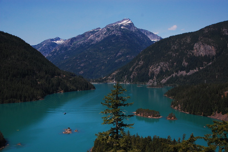 One of several lakes created by the three dams.  This is Lake Diablo.  The water is ridiculously blue.
