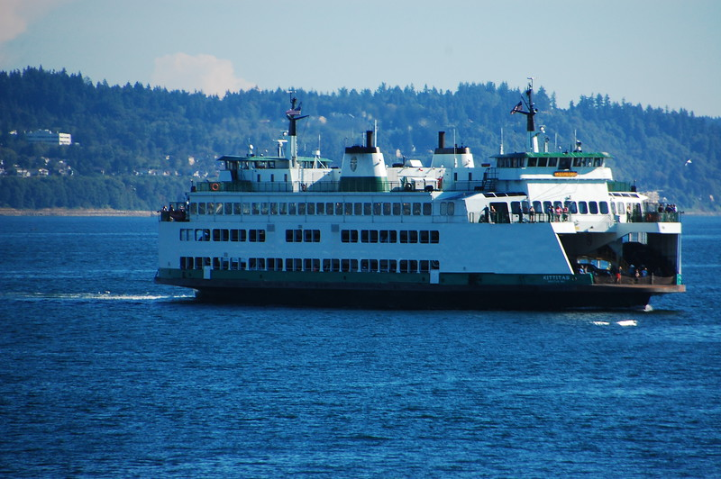 Shot of the sister ferry to the one we are on, passing by us in Puget Sound.  These ferries are massive. They have two stories for vehicles, and a dedicated passenger deck with a restaurant.  They make the Miller Boat Line ferry at Put-In-Bay look like a tin can with an outboard motor.*<br /> <br /> *Ohio joke