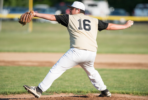 07/02/18 Wesley Bunnell | Staff Edgewood vs Southington S/W in a district 5 senior league baseball game on Monday evening in Bristol. Pitcher Jame Hall (16).