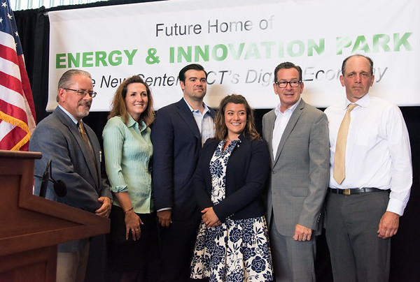 07/02/18 Wesley Bunnell | Staff Governor Dannel Malloy, Mayor Erin Stewart, developers from EIP, LLC as well as other political and community members held a press conference on Monday at 100 Curtis St, a former Stanley Black & Decker site, to celebrate the upcoming fuel cell powered high speed data center complex which is to begin construction next year. The project is expected to create more than 3,000 jobs over the next 10 years. New Britain Chamber of Commerce President Tim Stewart, Deb Geyer from Stanley Black and Decker, lead project investor John Lennon, Mayor Erin Stewart, Governor Dannel Malloy and Mark Wick from EIP.