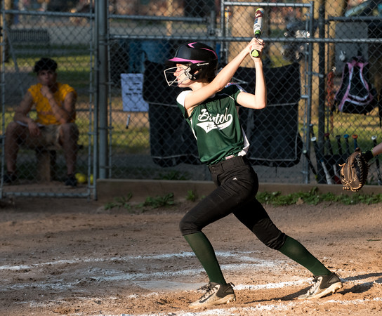 07/02/18 Wesley Bunnell | Staff New Britain vs Bristol district 5 softball tournament game at Rockwell Park on Monday evening. Sophia Bouchard (12).