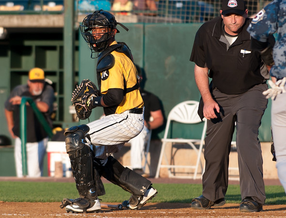 06/29/18 Wesley Bunnell | Staff The New Britain Bees were defeated 6-4 by the Southern Maryland Blue Crabs. James Skelton (3) takes the throw home up the 1st base line.