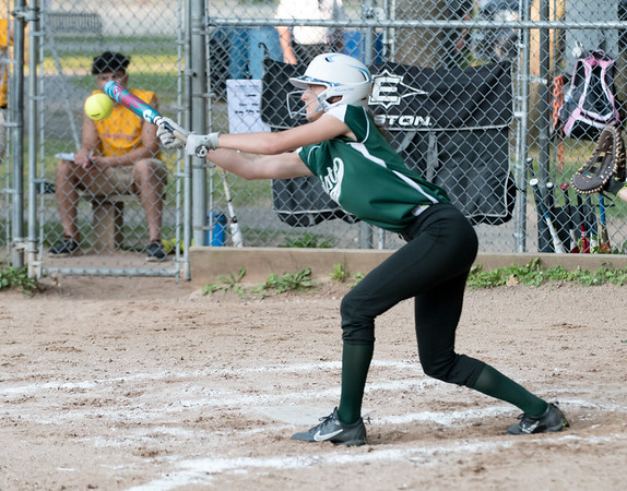 07/02/18 Wesley Bunnell | Staff New Britain vs Bristol district 5 softball tournament game at Rockwell Park on Monday evening. Lilly Lowe (13) with a bunt attempt.