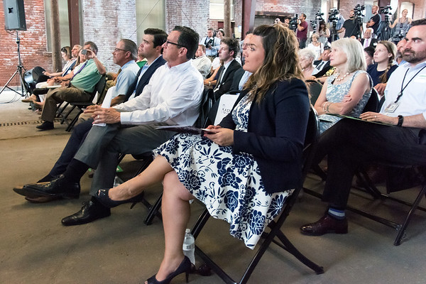 07/02/18 Wesley Bunnell | Staff Governor Dannel Malloy, Mayor Erin Stewart, developers from EIP, LLC as well as other political and community members held a press conference on Monday at 100 Curtis St, a former Stanley Black & Decker site, to celebrate the upcoming fuel cell powered high speed data center complex which is to begin construction next year. The project is expected to create more than 3,000 jobs over the next 10 years. New Britain Chamber of Commerce President Tim Stewart, lead project investor John Lennon, Governor Dannel Malloy and Mayor Erin Stewart.