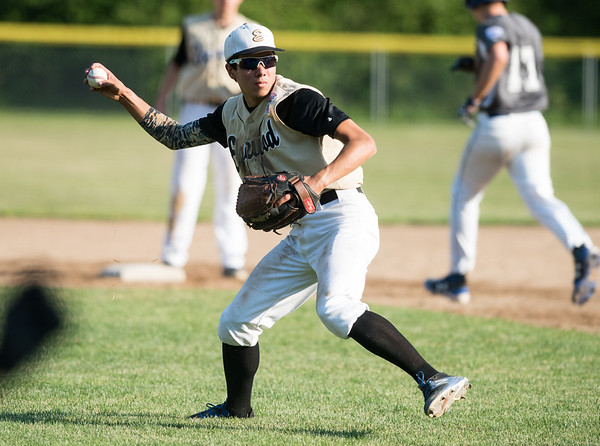 07/02/18 Wesley Bunnell | Staff Edgewood vs Southington S/W in a district 5 senior league baseball game on Monday evening in Bristol. Gabe Bartolome (8) throws to first for the out.