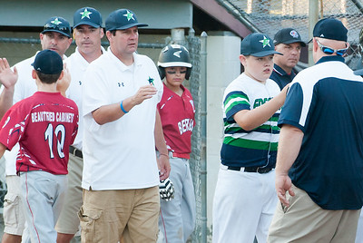 07/09/18  Wesley Bunnell | Staff  Edgewood defeated Berlin 13-3 after 5 innings in a District 5 tournament game at Recreation Park in Southington on Monday evening.  Edgewood coaches Bob McMahon, Brian Guarda and Chris Damato shake hands with Berlin players and coaches at the end of the game.