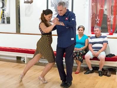 06/27/18  Wesley Bunnell | Staff  Owner of the Garage Dance Studio Muna Swairjo tango dances with Richard Ladisky.  The studio is located at 1385 East St in New Britain.