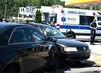 7/10/2018 Mike Orazzi | Staff The scene of a two-car crash on Middle Street near the intersection of Pine and Middle Streets Tuesday. Minor injuries were reported.