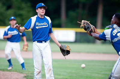 07/16/18  Wesley Bunnell | Staff  Bristol defeated Plainville in legion baseball on Monday night at Trumbull Park in Plainville. Pitcher Alex Grabowski (13) and catcher Juan Camacho (23) let the ball drop between them halfway between the mound and home.