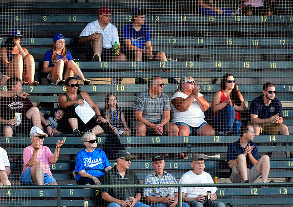 7/19/2018 Mike Orazzi | Staff Fans during Thursday night's baseball game between the Bristol Blues and the North Shore Navigators at Muzzy Field.