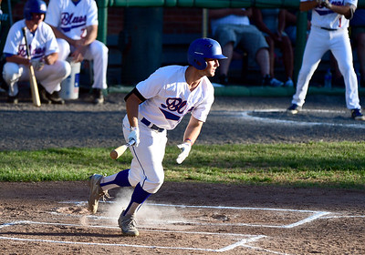 7/19/2018 Mike Orazzi | Staff Bristol Blue's Ian Ostberg (5) during Thursday night's baseball game between the Bristol Blues and the North Shore Navigators at Muzzy Field.