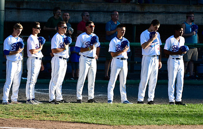 7/19/2018 Mike Orazzi | Staff Thursday night's baseball game between the Bristol Blues and the  North Shore Navigators.