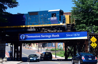 7/19/2018 Mike Orazzi | Staff The freight train passes over Main Street in downtown Bristol Thursday afternoon.