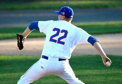 7/19/2018 Mike Orazzi | Staff Bristol Blue's Adam Riggleman (22) during Thursday night's baseball game between the Bristol Blues and the North Shore Navigators at Muzzy Field.