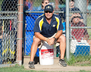 07/18/18  Wesley Bunnell | Staff  Newington 12U head coach Tom Tolisano on Wednesday evening in a game against Mystic.