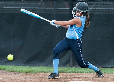 07/23/18  Wesley Bunnell | Staff  York, ME defeated Peabody, MA 1-0 in Little League Eastern Region Softball on Monday afternoon. Peabody's Jessica Steed (11) with an infield hit.